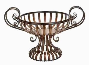 METAL BOWL WITH ELEVATED BASE - 74378 by Benzara