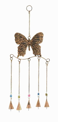 Metal Butterfly Wind Chime In Attractive Antique Brass Finish - 26785 by Benzara
