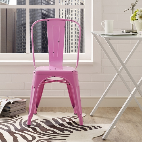 Buy metal cafe chair bubble gum pink at for Wild orchid furniture