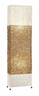 Unique Lamps Metal Capiz Rattan Floor Lamp - 38656 by Benzara