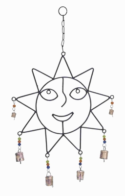 Metal Captivatingly Crafted Wind Chime With Sculpted Sun Face - 26731 by Benzara