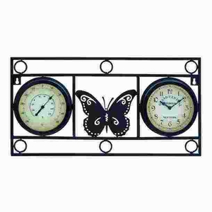 Clock Thermometer With Bold Metal Butterfly Motif - 35430 by Benzara