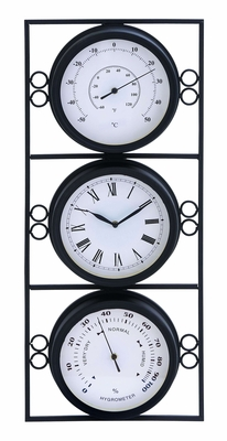 Contemporary Metal Clock With Two Thermometer & Minimal Style - 35418 by Benzara