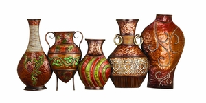 17 INCHES HIGH METAL VASE wall decor WITH FLANGED NECK - 42778 by Benzara