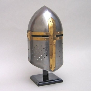 Metal Crusader Helmet with Gladiator Style and Articulate Design  by Benzara