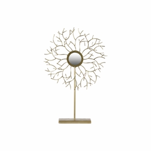 Metal Decor with Tree Branch Sculpture and Mirror - Gold - Benzara