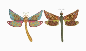 Dragonfly Assorted With Bright & Glowing Colors - Set Of 2 - 55195 by Benzara