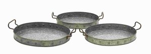 Galvanized Trays Designed With Great Precision - Set Of 3 - 38183 by Benzara