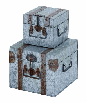 Metal Galvn Box With Scene Stealing Design And Locks - Set Of 2 - 38172 by Benzara