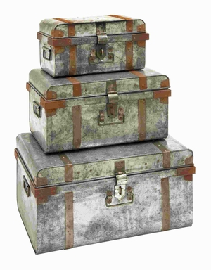 Galvanized Trunk With Rivets And Metal Strips - Set Of 3 - 38180 by Benzara