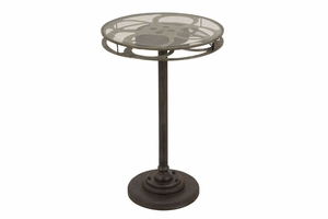 Metal Glass Accent Table Designed As A Movie Reel - 51651 by Benzara