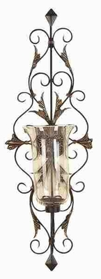 Metal Glass Candle Sconce Crafted with Intricate Detailing  - 91511 by Benzara