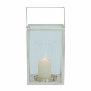 "Metal Glass LANTERN 8""W, 16""H by Benzara"