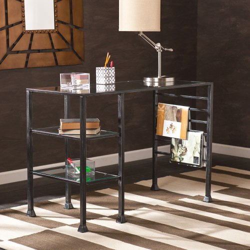 Buy metal glass writing desk at for Wild orchid furniture