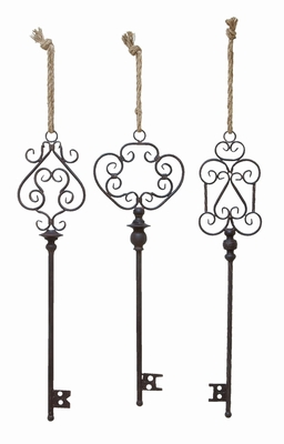 Key Decor In Artistic Design With Rusty Finish - Set Of 3 - 20206 by Benzara