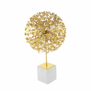 Metal Marble Large Seagul Ball, Gloss Gold - 72956 by Benzara