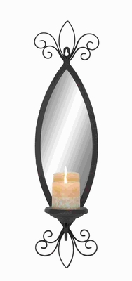 Mirror Candle Sconce with Secure Loop and Swirl accents - 93739 by Benzara