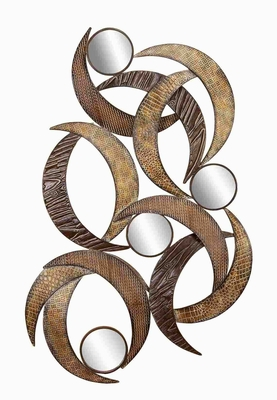 METAL MIRROR WALL PLAQUE BEAUTIFULLY SCULPTURED 24 INCHES HIGH - 96663 by Benzara