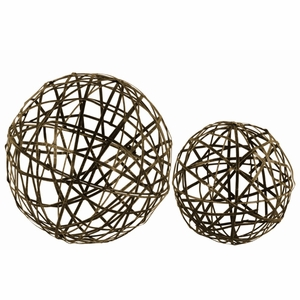 Metal Nesting Mesh Ball Decor Set of Two - Gold - Benzara