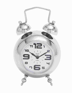 Table Clock With Nickel Plated Finish - 27852 by Benzara