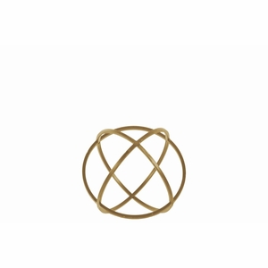 Metal Orb Dyson Sphere Design (3 Circles) - Gold - Small - Benzara