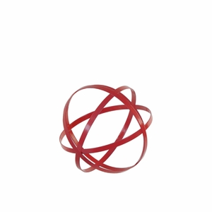 Metal Orb Dyson Sphere Design Decor (4 Circles) Coated Finish Red - Benzara