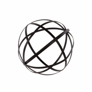 Metal Orb Dyson Sphere Design Decor (5 Circles) Coated Finish Black - Benzara