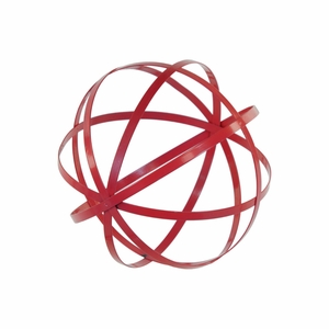 Metal Orb Dyson Sphere Design Decor (5 Circles) Coated Finish Red - Benzara