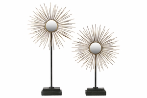 Metal Ornament with Radial Spines and Mirror Set of Two - Gold - Benzara