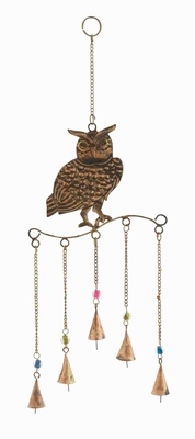 Metal Owl Wind Chime Golden Wire Detailing In Colored Beads - 26784 by Benzara