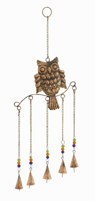 Metal Owl Wind Chime Natural Style With 5 Bells In Colored Beads - 26783 by Benzara