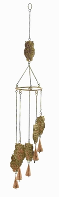 Metal Owl Wind Chime With 5 Owls Hanging On Chain And 1 On Top - 26788 by Benzara