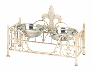 Metal Pet Bowl with Intricate Detailing in Soft Cream Shade - 50907 by Benzara