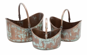 26904 Metal Planter Set/3 Patio Accents - 26904 by Benzara