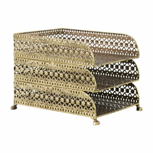 Metal Rectangular Office Organizer with 3 Tiers - Gold - Benzara