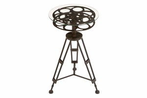 Metal Glass Accent Table A Tripod Table - 51652 by Benzara