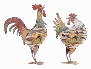 Rooster In Bright Color Pattern And Long Lasting - Set Of 2 - 55203 by Benzara