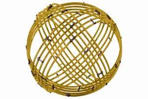 Metal Spherical Orb Decor with 10 Circles Large - Gold- Benzara