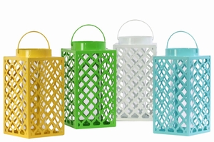 Metal Square Lantern, Diagonal Cutout Design Assortment of Four - Benzara