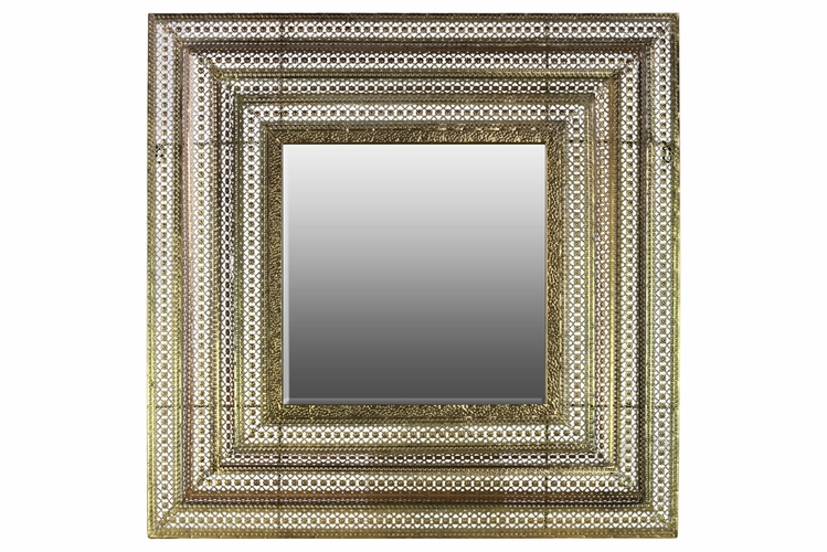 Gold Metal Wall Mirror: Buy Metal Square Wall Mirror Pierced Metal Gold At