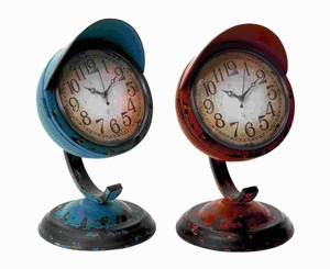 Table Clock Assorted In Red And Blue Colors - Set Of 2 - 55448 by Benzara