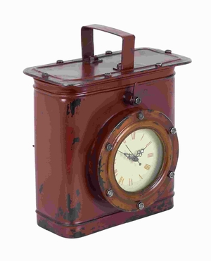 Table Clock With Minimal Details In Worn Out Finish - 53897 by Benzara