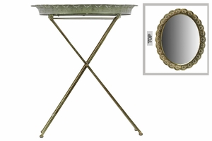 Metal Table with Mirror Surface Pierced Metal Gold