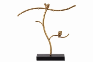 Metal Tree Jewelry Holder with Birds on Base - Gold - Benzara