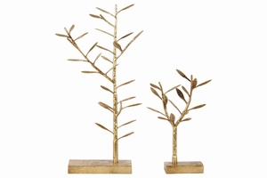 Metal Tree Tabletop Decor and Jewelry Holder - Set of 2 - Gold - Benzara