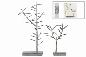 Metal Tree Tabletop Decor and Jewelry Holder - Set of 2 - Silver - Benzara