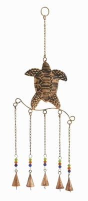 Metal Turtle Wind Chime With Exquisite Design In Copper Finished - 26782 by Benzara