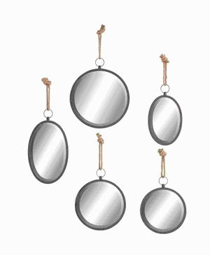Elegant Design Round Shape Mirrors, Set of 5 - 54421 by Benzara