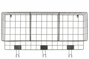 Metal Wall Basket with 3 Slots and 3 Hooks