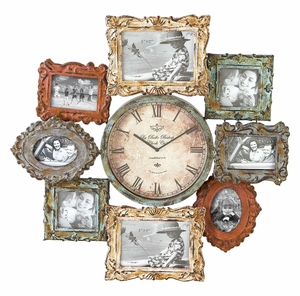 METAL CLOCK PHOTO FRAME WITH DUAL PURPOSE - 68412 by Benzara